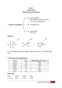 μ =1,18 D 1,8D 1,78D 1,64D BAB IV ALKIL HALIDA Reaksi Substitusi dan Eliminasi Ikatannya: