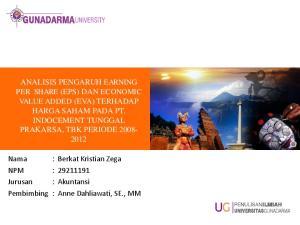 : Berkat Kristian Zega NPM : Pembimbing : Anne Dahliawati, SE., MM
