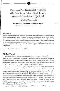 --~---- ~ Penerapan Price Limit untuk Mengatasi Volatilitas Return Saham (Studi Empiris terhadap Saham--Saham LQ-45 pada Tahun )