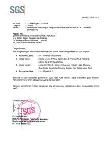 : Permohonan Pemasangan Pengumuman Publik Hasil Audit SVLK PT. Vinotindo Grahasarana