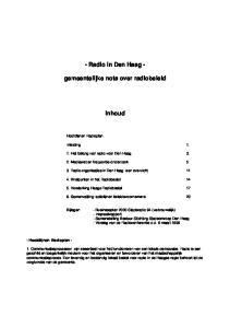 - Radio in Den Haag - gemeentelijke nota over radiobeleid