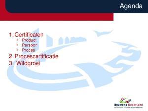 1. Certificaten Product Persoon Proces 2. Procescertificatie 3. Wildgroei. Agenda