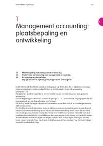 1 Management accounting: plaatsbepaling en ontwikkeling
