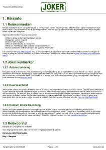 1. Reisinfo. 1.1 Reiskenmerken. 1.2 Joker-kenmerken. 1.3 Reisvoorstel Actieve beleving Duurzaamheid Contact lokale bevolking