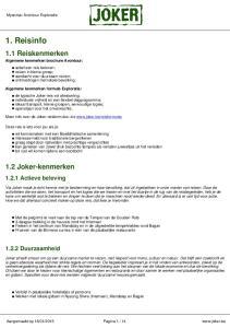 1. Reisinfo. 1.1 Reiskenmerken. 1.2 Joker-kenmerken Actieve beleving Duurzaamheid. Myanmar Avontuur Exploratie