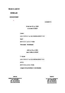 1. UNILEVER N.V. et IGLO-MORA GROEP B.V