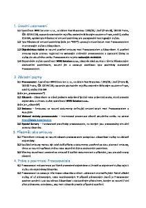 1. Úvodní ustanovení. 2. Základní pojmy. 3. Předmět této smlouvy. 4. Práva a povinnosti Provozovatele