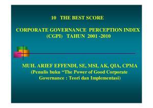 10 THE BEST SCORE CORPORATE GOVERNANCE PERCEPTION INDEX (CGPI) TAHUN