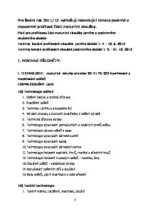 12 vyhlašuji následující témata povinné a nepovinné profilové části maturitní zkoušky