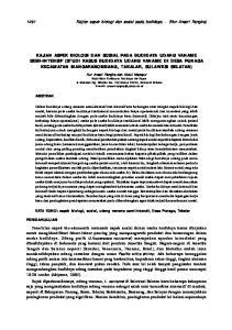 1291 Kajian aspek biologi dan sosial pada budidaya... (Nur Ansari Rangka) ABSTRAK