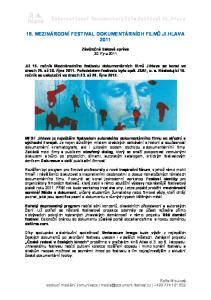 15. MEZINÁRODNÍ FESTIVAL DOKUMENTÁRNÍCH FILMŮ JI.HLAVA 2011