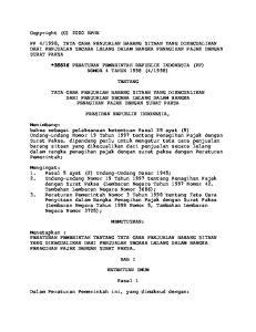 1998, TATA CARA PENJUALAN BARANG SITAAN YANG DIKECUALIKAN DARI PENJUALAN SECARA LELANG DALAM RANGKA PENAGIHAN PAJAK DENGAN SURAT PAKSA