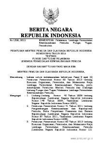 2 2015, No.1326 Tahun 2013; Tambahan Lembaran Negara Republik Indonesia Nomor 5444); 4. Peraturan Presiden Nomor 7 Tahun 2015 tentang Organisasi Kemen