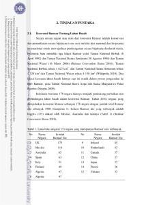 2. TINJAUAN PUSTAKA. Tabel 1. Lima belas negara (15) negara yang mempunyai Ramsar sites terbanyak. Jumlah Ramsar Site. Jumlah. Negara. Negara