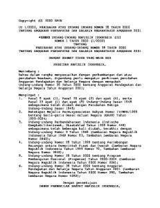 2002, PERUBAHAN ATAS UNDANG UNDANG NOMOR 35 TAHUN 2000 TENTANG ANGGARAN PENDAPATAN DAN BELANJA NEGARATAHUN ANGGARAN 2001