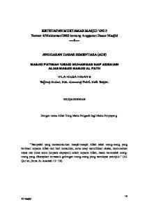 2003 tentang Anggaran Dasar Masjid ANGGARAN DASAR SEMENTARA (ADS)