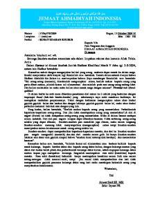 2004. Bogor, 15 Oktober 2004 M Ikha 1383 HS : SURAT EDARAN KHUSUS