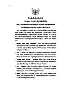 2005. Mahkamah Konstitusi Republik Indonesia DEMI KEADILAN BERDASARKAN KETUHANAN YANG MAHA ESA