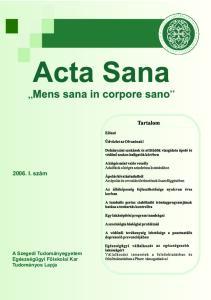 2006. I. szám. A Szegedi Tudományegyetem Egészségügyi Főiskolai Kar Tudományos Lapja