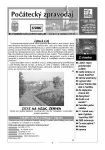 2007. Lipová alej. Z obsahu: CITÁT NA MĚSÍC ČERVEN
