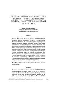 2009 DAN JAMINAN KONSTITUSIONAL ISLAM NUSANTARA