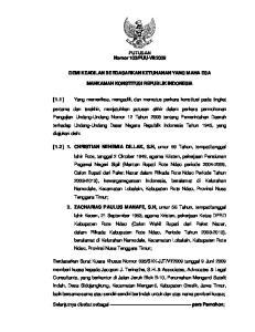 2009 DEMI KEADILAN BERDASARKAN KETUHANAN YANG MAHA ESA MAHKAMAH KONSTITUSI REPUBLIK INDONESIA