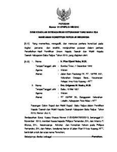 2010 DEMI KEADILAN BERDASARKAN KETUHANAN YANG MAHA ESA MAHKAMAH KONSTITUSI REPUBLIK INDONESIA