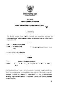 2010 KOMISI INFORMASI PUSAT REPUBLIK INDONES1 1. IDENTITAS 7 ^ Terhadap