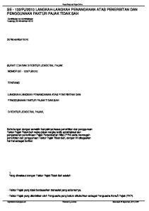 2010 LANGKAH-LANGKAH PENANGANAN ATAS PENERBITAN DAN PENGGUNAAN FAKTUR PAJAK TIDAK SAH