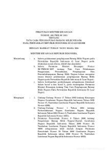 2010 TENTANG TATA CARA PENGHAPUSAN BARANG MILIK NEGARA PADA PERWAKILAN REPUBLIK INDONESIA DI LUAR NEGERI