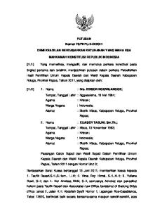 2011 DEMI KEADILAN BERDASARKAN KETUHANAN YANG MAHA ESA MAHKAMAH KONSTITUSI REPUBLIK INDONESIA
