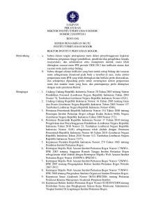 2011 TENTANG SISTEM PENJAMINAN MUTU INSTITUT PERTANIAN BOGOR REKTOR INSTITUT