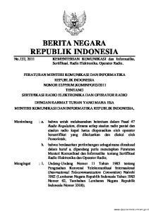 2011, Undang-Undang Nomor 36 Tahun 1999 tentang Telekomunikasi (Lembaran Negara Republik Indonesia Tahun 1999 Nomor 154, Tambahan Lembaran Ne