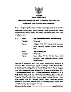 2012 DEMI KEADILAN BERDASARKAN KETUHANAN YANG MAHA ESA MAHKAMAH KONSTITUSI REPUBLIK INDONESIA