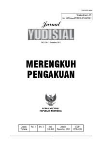 2012. Jurnal Yudisial. Vol. 5 No. 3 Hal Jakarta Desember 2012