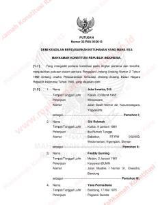 2013 DEMI KEADILAN BERDASARKAN KETUHANAN YANG MAHA ESA MAHKAMAH KONSTITUSI REPUBLIK INDONESIA,