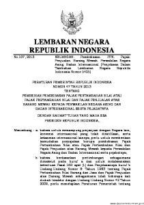 2013, No Mengingat Pemberian Pembebasan Pajak Pertambahan Nilai atau Pajak Pertambahan Nilai dan Pajak Penjualan atas Barang Mewah Kepada Perwak