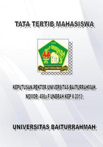 2013 TENTANG PERATURAN TATA TERTIB MAHASISWA UNIVERSITAS BAITURRAHMAH