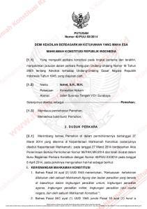 2014 DEMI KEADILAN BERDASARKAN KETUHANAN YANG MAHA ESA MAHKAMAH KONSTITUSI REPUBLIK INDONESIA