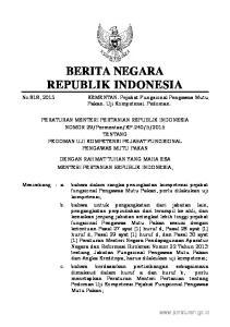 2015, No Mengingat : 1. Undang-Undang Nomor 18 Tahun 2009 tentang Peternakan dan Kesehatan Hewan (Lembaran Negara Tahun 2009 Nomor 84, Tambahan