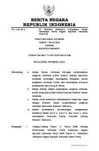 2015, No Peraturan Komisi Informasi Nomor 1 Tahun 2013 tentang Prosedur Penyelesaian Sengketa Informasi Publik (Berita Negara Republik Indo