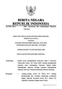 2015, No Peraturan Pemerintah Nomor 102 Tahun 2000 tentang Standardisasi Nasional (Lembaran Negara Republik Indonesia Tahun 2000 Nomor 199 T