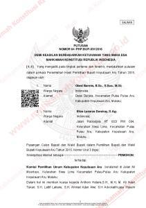 2016 DEMI KEADILAN BERDASARKAN KETUHANAN YANG MAHA ESA MAHKAMAH KONSTITUSI REPUBLIK INDONESIA