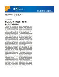 2016, Hal. 21 BCA Life Incar Premi Rp 500 Miliar