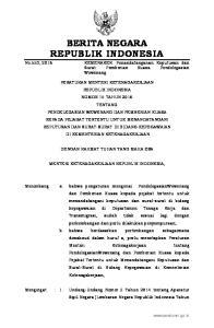 2016, No Nomor 6, Tambahan Lembaran Negara Republik Indonesia Nomor 5494); 2. Peraturan Pemerintah Nomor 4 Tahun 1966 tentang Pemberhentia