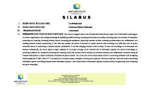 3 SKS II. NAMA MATA KULIAH : Seminar Sistem Informasi III. PROGRAM STUDI : Akuntansi