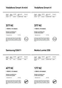 377 Kč. 377 Kč. 177 Kč. 477 Kč. Vodafone Smart 4 mini. Vodafone Smart 4. Nokia Lumia 530. Samsung S Kč x 12 měsíců Kč x 18 měsíců