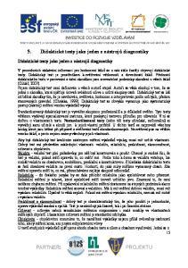 5. Didaktické testy jako jeden z nástrojů diagnostiky