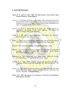 6. DAFTAR PUSTAKA. Adams, M. R. and M. O. Moss Food Microbiology, Second edition. Royal Society of Chemistry. United Kingdom