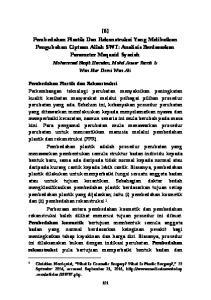 [6] Pembedahan Plastik Dan Rekonstruksi Yang Melibatkan Pengubahan Ciptaan Allah SWT: Analisis Berdasarkan Parameter Maqasid Syariah